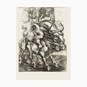 Stiere - Original Radierung von M. Chirnoaga - spätes 20. Jahrhundert spätes 20. Jahrhundert