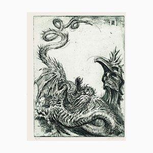 Gravure à l'Eau-Forte Hydra par M. Chirnoaga - Fin 20ème Siècle