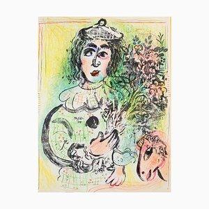 Le Clown Fleuré - Lithographie von Marc Chagall - 1963 1963