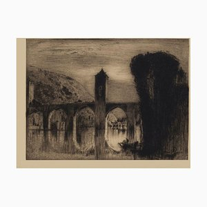 Acquaforte Bridge originale di Frank Brangwyn, metà XX secolo, metà XX secolo