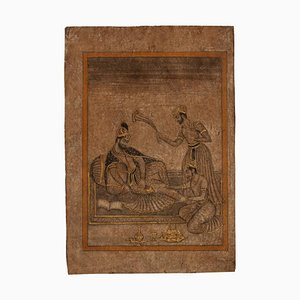 Indian Sultan - Original Drawing on Paper in Mixed Media - Late 19th Century Late 19th Century