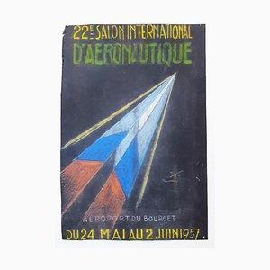 Luftfahrt - Original Zeichnung in Pastell - 1957 1957