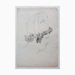 Portrait - Dessin Original au Crayon sur Papier par Victor Hubert - Début 1800 Début 19ème Siècle