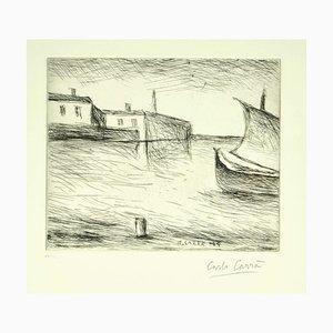 Gravure à l'Eau-Forte Seascape par Carlo Carrà - 1964 1924