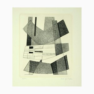 Geometric Black and White - Original Etching by A. Magnelli - 1964 1964