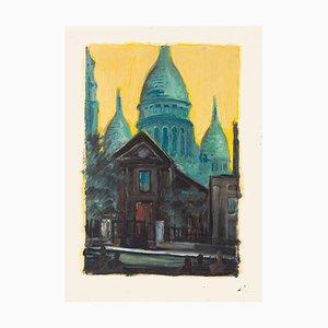 Basilica of the Sacred Heart of Paris - Original Oil Painting - 20th century 20th century