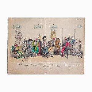 Le Caricature - Hand-Colored Lithografie von Jean-Jacques Grandville - 1831 1831