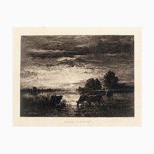 Paturage. Clair de lune - Original Radierung von Constant Troyon - 19. Jh. 19. Jh