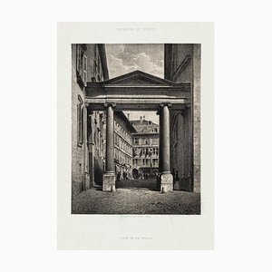 Porte de la Treille - Original Lithograph by Antonio Fontanesi - 1854 1854