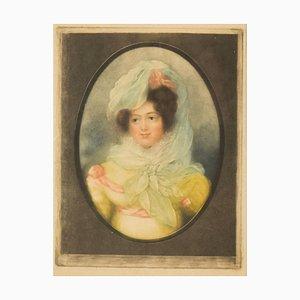Portrait einer Dame - Original Colored and Mezzotint - 18. Jh., 18. Jh