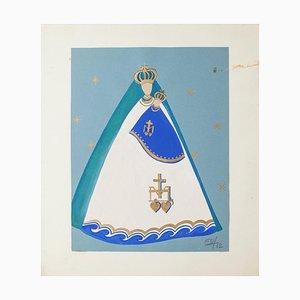 Vierge à l'Enfant - Original Tempera sur Papier et Carton - 1962 1962