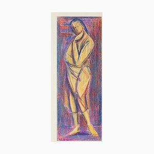 Woman Figure - Original Oil Pastel Drawing by D. Milhaud - 1932 1932