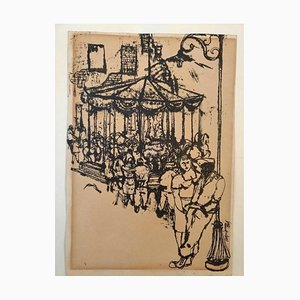 The Carousel - China Ink Drawing by Renzo Vespignani - 1949 1949