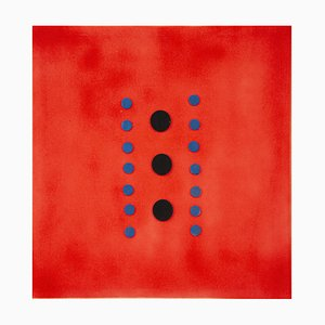 Polka Dots on Red - Original Acrylic Painting by Mario Bigetti - 2020 2020