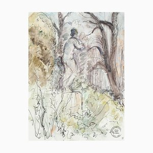 Alone in the Forest - Original Ink and Watercolor by S. Goldberg - 1950s 1950s