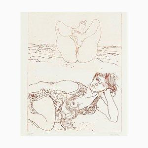 Nude - Original Etching by Sergio Barletta - 1980s 1980s