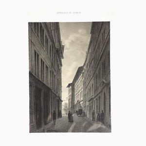 Interieur de Geneve. Rue de l'Hotel de Ville - Lithograph by A. Fontanesi - 1854 1854