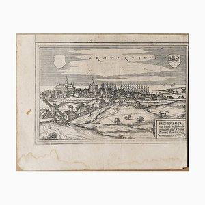 Map of Broversavia - Original Etching by George Braun - Late 16th Century 16th Century