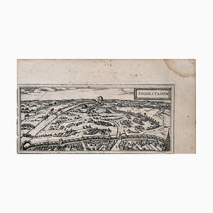 Ingolstadt Karte - Original Radierung von George Braun- spätes 16. Jahrhundert 16. Jahrhundert