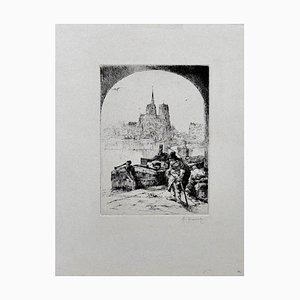 Paris - Original Radierung von Auguste Brouet - Frühes 20. Jahrhundert Frühes 20. Jahrhundert