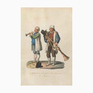 Zampognari che fanno la Novena di Natale - Aquarell von M. De Vito - 1820 1820 ca