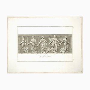 Gravure à l'Eau-Forte The Dancers par L. Cunego After B. Nocchi 1821