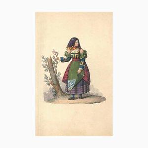 Weibliche Figur aus dem XIX Jahrhundert - Aquarell von M. De Vito - 1820 1820 ca