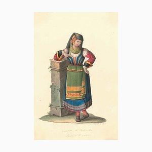 Costume di Tortorella - Watercolor by M. De Vito - 1820 ca. 1820 c.a.