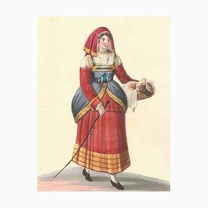 Italian Woman with Chickens - Watercolor by M. De Vito - 1820 ca. 1820 c.a.