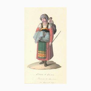 Costume di Ciociara - Aquarell von M. De Vito - 1820 1820 ca