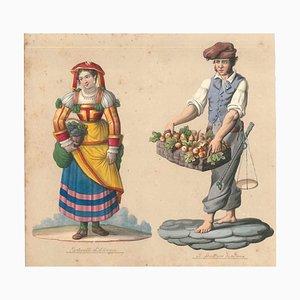 Tortorella d'Abruzzo e fruttaro napolitano - Aquarell von M. De Vito - 1820 1820 ca