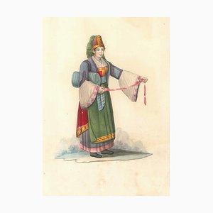 Costume di Parghelia di Calabria - Watercolor by M. De Vito - 1820 ca. 1820 c.a.