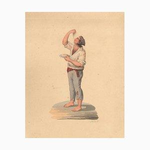 Man Eating Spaghetti - Watercolor by M. De Vito - 1820 ca. 1820 c.a.