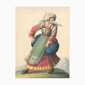 Woman in Typical Italian Costumes - Watercolor by M. De Vito - 1820 ca. 1820 c.a.