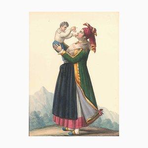 Costume dell'Isola di Procida - Aquarell von M. De Vito - 1820 1820 ca