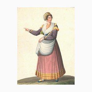 Costume Napolitano del basso volgo - Aquarelle par M. De Vito - 1820 ca. 1820 ca
