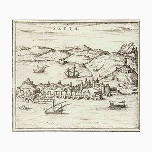 Septa, Karte von '' Civitates Orbis Terrarum '' - von F.Hogenberg - 1575 1575
