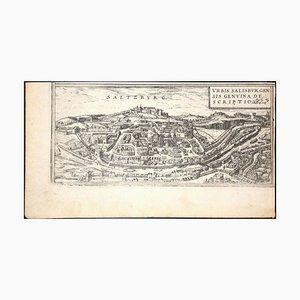 Salzburg, Karte von '' Civitates Orbis Terrarum '' - von F. Hogenberg - 1575 1575