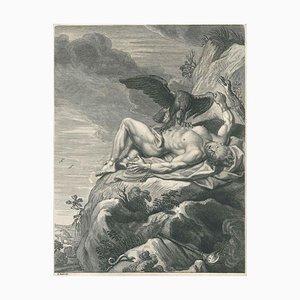 Prometheée, von '' Temple des Muses '' - Original Radierung von Bernard Picart - 1742 1742