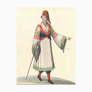 Costume di Carafagreci - Watercolor by M. De Vito 1820 c.a.