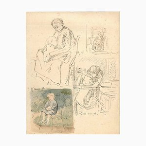 Maternity - Original China Ink Drawing by E. Morin - 1874 1874