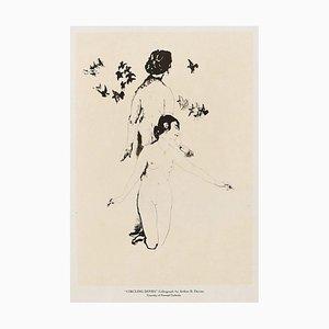 Circling Doves - Original Lithograph by A. Bowen Davies 1921