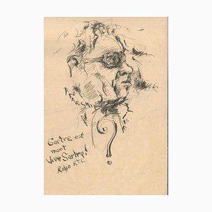 Sartre est mort - Original Tusche Zeichnung von Anonymous French Artist 2. Hälfte 1900 Late 1900