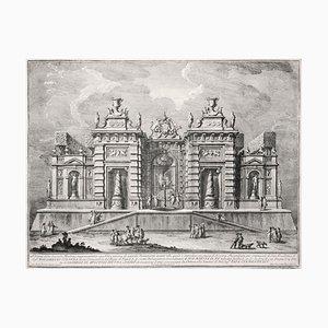 Villa antica con scena di Giostra - Original Etching by Giuseppe Vasi - 1774 1775