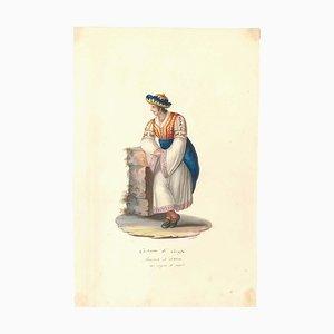 Costume di Carafa - Original Watercolor by M. De Vito - 1820 ca. 1820 c.a.