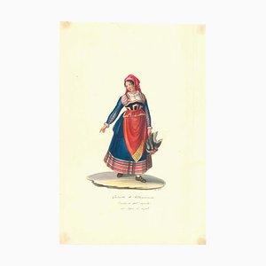 Costume di Villa Pianezza - Original Watercolor by M. De Vito - 1820 ca. 1820 c.a.