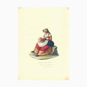 Costume di Capracolla - Originales Aquarell von M. De Vito - 1820 1820 ca
