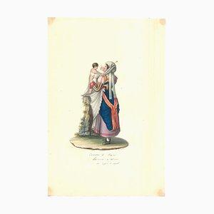 Costume di Fraine - Original Watercolor by M. De Vito - 1820 ca. 1820 c.a.