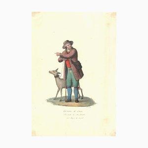 Costume di Craco - Original Watercolor by M. De Vito - 1820 ca. 1820 c.a.