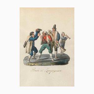Ballo de' Zampognari - Original Watercolor by M. De Vito - 1820 ca. 1820 c.a.
